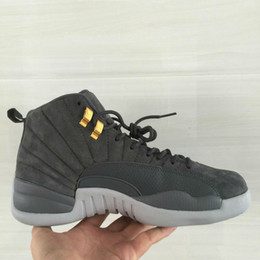 Wholesale real discount - Cool grey 12 grey suede top quality wholesale discount men basketball shoes real carbon fibre size eur 41-46 free shipping