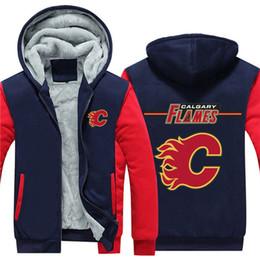 2019 sudadera con capucha de hockey nhl NHL Hockey norteamericano chaqueta casual de invierno para hombre Cálido espesar sudaderas con capucha de moda Calgary Flames rebajas sudadera con capucha de hockey nhl