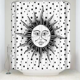Rideau de douche en tissu noir en Ligne-Nouveau imperméable à l'eau Hippie Sun imprimé rideau de douche avec crochets Polyester tissu salle de bain rideaux pour la maison décorations noir blanc