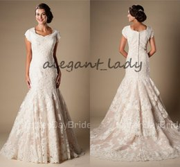 Wholesale Pink Cowgirl - Modest Jewel Neck Mermaid lds Wedding Dresses with Cap Sleeves 2018 Vintage Lace Applique Country Cowgirls Wood Farm Wedding Gown Plus Size