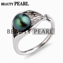Wholesale peacock rings - Lotus Leaf Design 925 Sterling Silver Round Pearl Ring Peacock Green Freshwater Pearl Smooth Band Open Ring