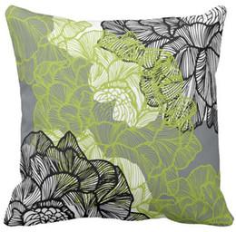 Travesseiros cinza verde on-line-Cinza verde do teste padrão floral almofada