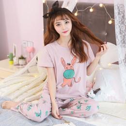 a7d6c2ef8e Free Shipping Summer 100%Cotton Women Short Sleeve Pajamas Set Cute Cartoon  Casual Big Size M-XXL Sleepwear Short Top+Long Pants