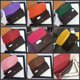 Wholesale Note Free Case - Free Shpping Wholesale Women's Long Wallet Multicolor Designer Wallet colourfull Business Card Case Original Women's Classic Zipper Pocke