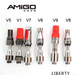 100% оригинал Amigo Liberty V1 V5 V6 V7 V8 V9 Vape Pen танк керамический картридж керамическая катушка толстый масляный стеклянный бак 1 мл 0.5 мл масляный испаритель Vape supplier v6 tank от Поставщики бак v6