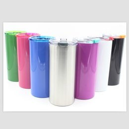 Wholesale Blue White Straws - Newest 20 ounce straight Cylinder mugs cup with lids straws 20 Ounce Stainless Steel Insulated cup for kids Cylinder shiny cups 7 colors