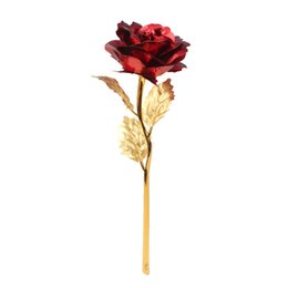 Wholesale Orange Party Favors - Ourwarm 24K Golden Rose Artificial Flowers for Wedding Party Favors Decoration Home Table Accessories Halloween Decorations