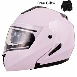 modular helmet visor Promo Codes - Motorcycle helmets Double Visors Modular Flip Up helmet DOT approved Full face casque moto racing Motocross helmet M L XL XXL