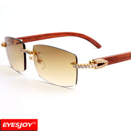 Wholesale Wooden Frame Box - Designer Sunglasses Red Wood Frames Fashion Brand Luxury Sunglasses for Men Sunglasses Rimless Diamonds UV380 Lens With Box CT3524012