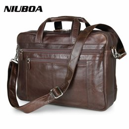 "Wholesale leather laptop 17 - NIUBOA 100% Genuine Leather Shoulder Bag High Quality Men Briefcase Handbag Euro Cowhide Business Messenger Bags 17"" Laptop Bags"