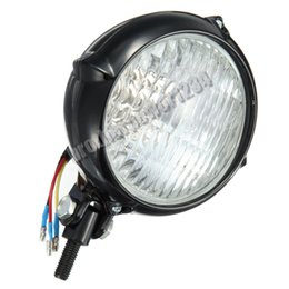 "Wholesale Yellow Motorcycle Headlight - 4"" Black Head Light Lamp for Harley Dyna Softail Sportster 1200 Motorcycle"
