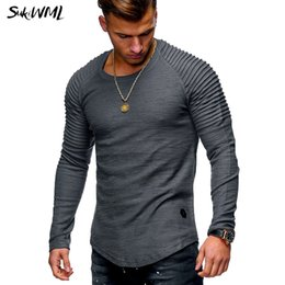 2019 camisa dobrada da luva t SUKIWML Dobre Camiseta Homme 2018 Moda T Shirt Dos Homens de Mangas Compridas Camisetas Hombre Slim Fit Homens T Cor Sólida Tops camisa dobrada da luva t barato