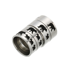 mom band Promo Codes - Stainless Steel Mama Bear Ring Enamel Cubs Mother and Kids Band Ring Fashion Jewelry for Mom Birthday Gift Drop Ship 080347