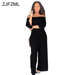 bbbd7288440 pantalones Rebajas ZJFZML Off The Shoulder Sexy Jumpsuit Mujeres Slash  cuello manga tres cuartos Loose Romper