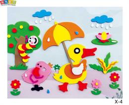 Wholesale eva diy sticker - 20 designs lot DIY Cartoon Animal 3D EVA Foam Sticker Puzzle Series E Early Learning Education Toys for Children