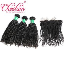 Choshim Cabelo Produto Pré Arrancado Frontal Do Laço Com 4 Feixes de Cabelo Encaracolado Kinky Malaio Com Fechamento Frontal Virgem Do Cabelo Humano Com Frente de Fornecedores de tinge weave mel loira