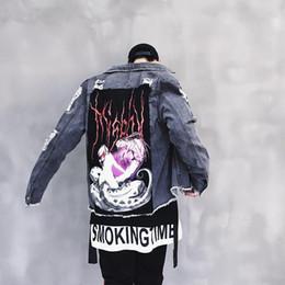 homens cinza denim jaquetas Desconto Oversize Denim Jeans Jaqueta Homens Cinza Cor Outono Mens Harajuku Buracos Jeans Jeans Hip Hop Jaqueta Masculina