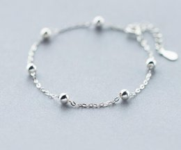 kleines silbernes perlenarmband Rabatt (Kleine Perlen 4mm) Echt. 925 -Sterling -Silber-Schmuck LUCKY Kugelkette Armband einstellbar Charm Sommer Schmuck GTLS231