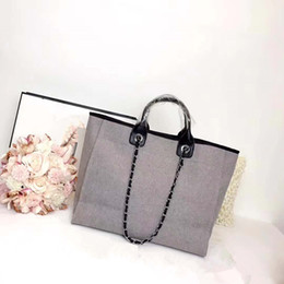 Wholesale Embroidery Dress Shop - freeship High Quality Canvas handbag letter Embroidery Casual Travel chain women's Crossbody Beach leisure Bag Lady Messenger Shopping bags