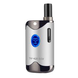Wholesale k1 battery - Mini Box Wax Oil Vaporizer Kit TH-420 Mod 650mAh Battery Adjustable Variable Voltage 0.5ml K1 Atomizer Ceramic Vape Cartridges E Cigarette
