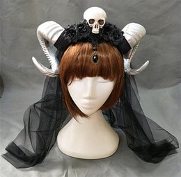 c963440e0dc Demon Evil Gothic Lolita The veil Skull Sheep horn Headband Hairband  Accessory Cosplay Costumes Halloween Headwear Prop