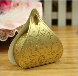 pêssegos de ouro Desconto Caixas de doces Romântico Coração de Ouro Pêssego Favores Do Casamento Caixa de Gota de Água Caixas de Presente Fontes da Festa de Casamento