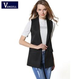 Wholesale Office Wardrobes - Women Fashion Wardrobe waistcoat Slim cotton vest 2017 Decoration Vests Female Sleeveless Waistcoat office lady pocket coat