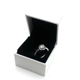 Wholesale Sterling Silver Heart Jewelry Sets - Luxury Brand Jewelry Real 925 Sterling Silver CZ Diamond Rings with LOGO Womens ring Fashion Wedding Ring for Women with box