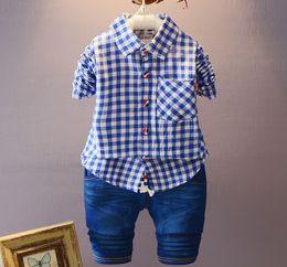 2fc72bc78 Autumn Limited Hot Sale Unisex Kids Clothes Plaid Baby Boys Girls Sets Long  Sleeve Shirt Denim Children Casual Suit 2018 Fahion Clothing Set