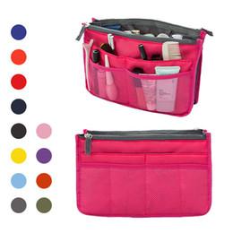 Wholesale Fresh Professionals - 14 Colors Double Zipper Bag In Bag Makeup Bags Cases Hand Bag 28.5*18.5*10cm Professional Beauty Case Makeup Bags Free Shipping
