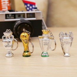 Wholesale Money Gift Boxes - 2018 Russia FIFA World Cup Keychain Trophy Shape Resin Key Buckle Anti Wear Mini Keys Ring Glod Silver 3 2hy XB