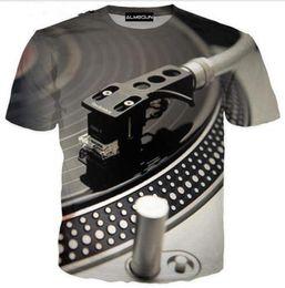 Wholesale Fashion Discs - New Fashion Couples Men  Women Unisex Black Discs DJ Funny 3D Print No Cap Casual T-Shirts Tee Top Wholesale QW91