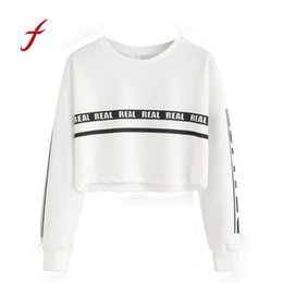 Wholesale Yellow Sweatshirt Ladies - Feitong Sexy Crop Top Hoodie Women Letter Print Sweatshirt Long-sleeved Pullover Hoodies Ladies Casual Tracksuit sudadera mujer
