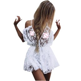 d237f8d28b1 Womens See Through Lace Playsuit Ladies Plunge Holiday Short Jumpsuit  Combinaison short femme white Macacao feminino beach wear