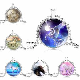 Wholesale fantasy jewelry - Unicorn Necklace Unicorn Pendant Art Photo horse Jewelry Glass Cabochon animal Pendant Fantasy Jewelry 162674
