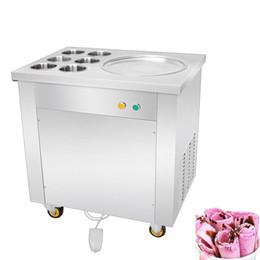 Friggere la panna di ghiaccio macchina online-Macchina rotonda Pan 6 Benne fritto gelato Roll Machine / a Pan Thailandia Fried Ice Cream