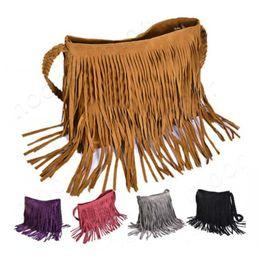 Wholesale Hobo Leather Backpack - Celebrity tassel suede fringe leather shoulder messenger handbag hobo bag women PU leather tassels clutch purse handbag shoulder totes bag