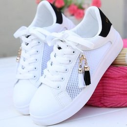 Wholesale Korean Shoes Pink - Hot sale 2018 spring summer new women's shoes,Korean edition fashion comfort. Sweet tassel Hollowed-out casual mesh shoes Flat shoes