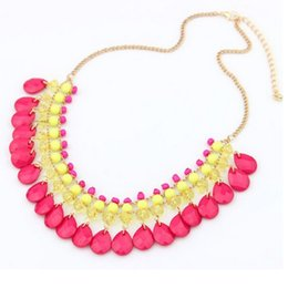 Wholesale Colorful Rhinestone Statement Necklaces - whole saleNew Fashion Luxurious Crystal Maxi Necklaces Bohemian Colorful Shining Rhinestone Choker Statement Necklaces For Women Jewelry