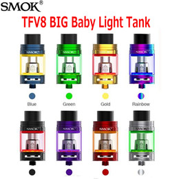 Wholesale Atomizers Led - Original SMOK TFV8 Big Baby Tank Light Edition 2ml 5.0ml Top Filling Airflow Changeable LED Sub Ohm Atomizer For V8 Baby Coil 100% Authentic