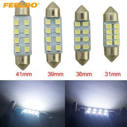luz de advertencia de peligro estroboscópico Rebajas FEELDO 50PCS Blanco 31mm / 36mm / 39mm / 41mm 1210/3528 8SMD Interior del coche Luz Festoon Dome Bombilla LED # 1524