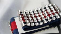 Wholesale Crystal Gifts For Women - Designer Full Rhinestone Elastic Headband Fashion Luxury Brand Striped Hairband For Women Girl Retro Headwraps Gifts