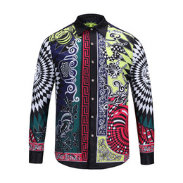 Wholesale Printed Flannel Shirt - 2017 Europe famous brand long sleeve shirts Medusa gold chain print Shirts Men Casual Business Shirts