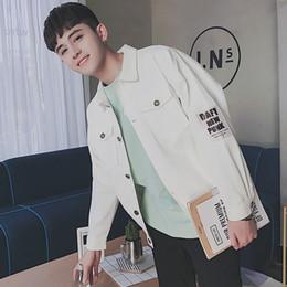 Wholesale Trend Fashion Jacket Korean - 2017 Fashion trend Cowboy coat Men's Korean version Letter printing Denim jacket black white Single breasted clothes M-2XL SIZE