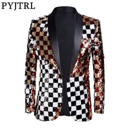 Argentina PYJTRL Brand New Men Double-sided Colorful Plaid Red Gold White Black Lentejuelas Blazer Design DJ Singer Suit Jacket Fashion Outfit cheap blazers design for man black Suministro