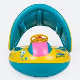 Gonfiabili infanzia anelli di nuoto online-Stagno di nuotata dell'anello della barca di Seat del parasole del galleggiante del parasole del galleggiante di nuoto dell'infantile del bambino di sicurezza