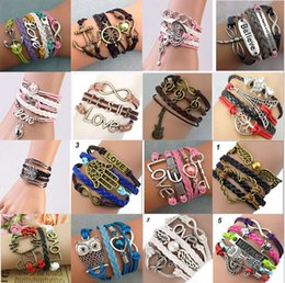Wholesale Sterling Silver Lobster Claw Clasps - mix infinity Designs Leather Bracelet with multi colors layers charm bracelet fashion jewlery for man or women free shipping
