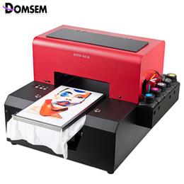 kommerzielle etikettendrucker Rabatt DOMSEM A4-Format Automatisches Kleidungsstück T-Shirt UV-Drucker mit T-Shirt-Fach / Tinte / Software