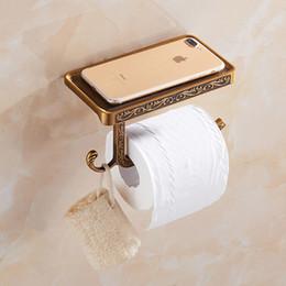Canada Antique style européen salle de bains téléphone étagère sculpté surface rouleau porte-papier en aluminium porte-papier hygiénique avec crochets suspendus Offre