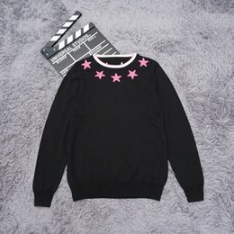 Wholesale Black Wool Belt - Sweater Men 2018 New Arrival Pink star embroidery Casual Pullover Men Autumn Round Neck Patchwork Quality Knitted Brand Male Sweaters